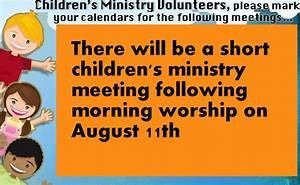 Children's Ministry Meeting – OVCF