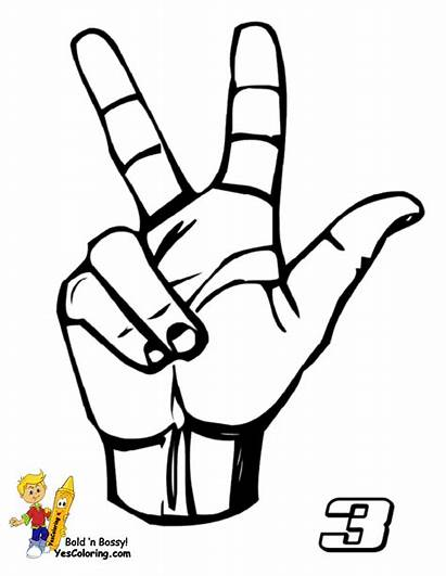 Language Sign Number American Three Asl Coloring
