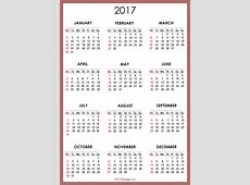 2017 Calendar Printable weekly calendar template