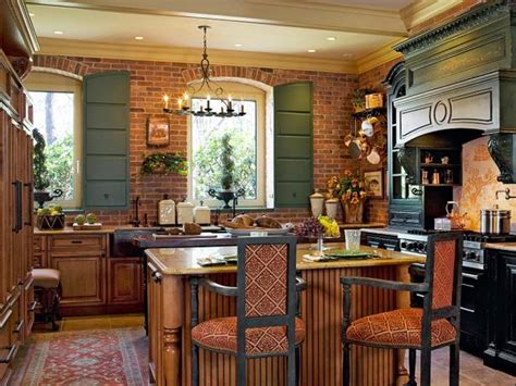 french country kitchen  exposed brick wall hgtv