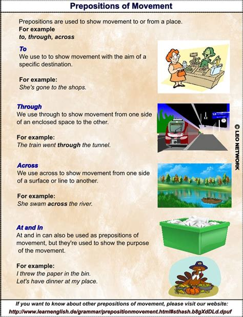 prepositions  movement    english