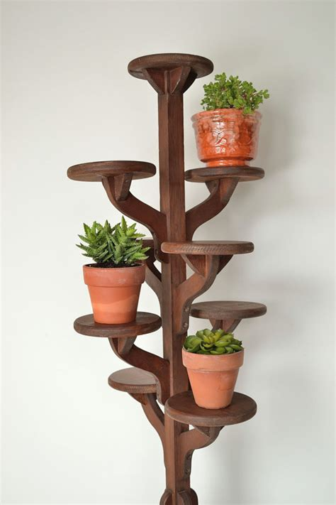 vintage handmade wooden tiered plant stand flower pot
