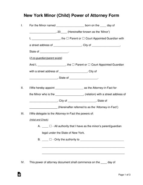 blank power of attorney form ny free new york minor child power of attorney form