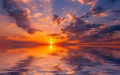 Horizon Sunset Sea Sun Clouds Background Reflection
