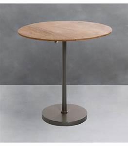 Petite Table En Bois : petite table d 39 appoint ronde en bois de manguier et m tal ~ Teatrodelosmanantiales.com Idées de Décoration