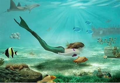 Underwater Mermaids Sea Mermaid Swimming Rock Drawing
