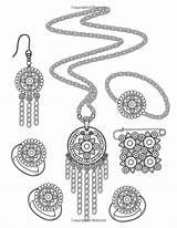 Coloring Jewels Colouring Adult Gems Printable Earrings Drawing sketch template