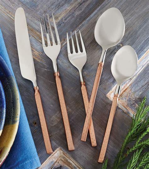 flatware copper hammered kitchen table western decor rustic dining minimalist settings blackforestdecor