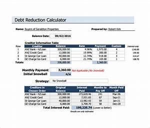 Snowball Debt Calculator Spreadsheet 6 Sample Debt Reduction Calculator Templates Sample
