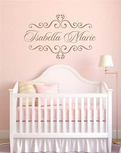Personalized baby nursery name vinyl wall decal elegant shabby chic heart frame
