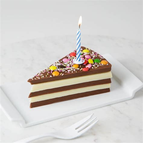 Birthday Chocolate Cake Slice Complete With Candle By