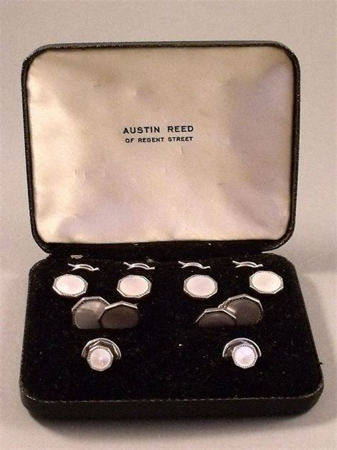vintage boxed white metal chrome dress stud  cuff links