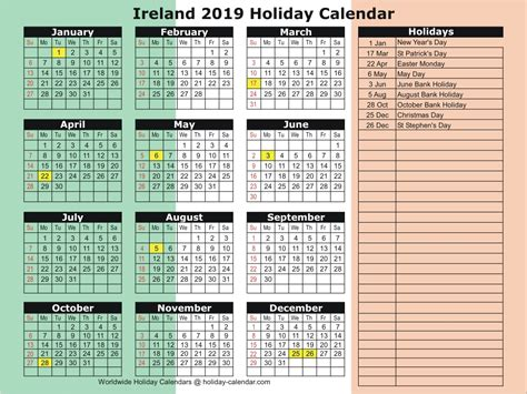 ireland holiday calendar