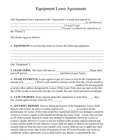 equipment rental agreement templates