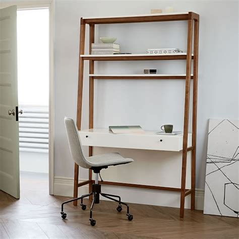 white computer desk with bookshelf modern wall desk elm