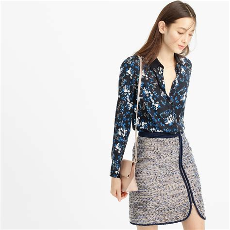 jcrew blouses j crew collection silk blouse in nightfall freesia in blue