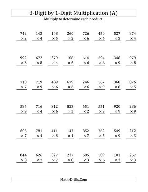 3digit By 1digit Multiplication (a) Math Worksheet #freemath  Tutoring  Pinterest Math