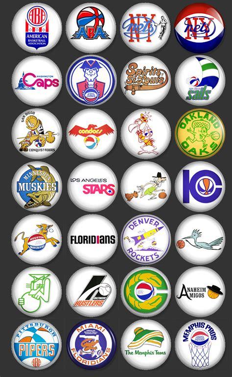 set   vintage aba basketball team logos