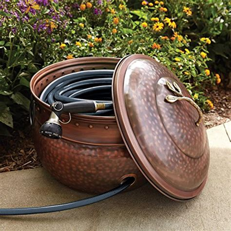 Amazoncom  Garden Hose Storage Pot With Lid  Lawn And
