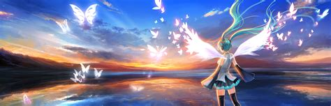 Happy Dual Monitor Wallpaper by Vocaloid Wallpaper And Background Image 2800x900 Id