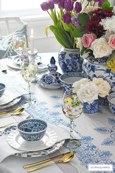 pink  blue easter table setting town country living