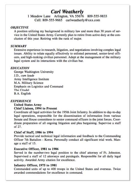 exle of infantry officer resume http