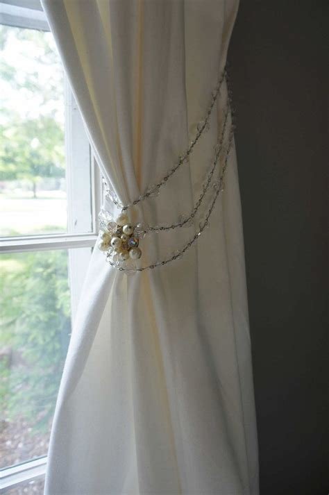 curtain tie  vintage crystal beads pearls sparkly