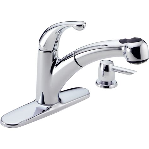 kitchen pull out faucets shop delta palo chrome pull out kitchen faucet at lowes com