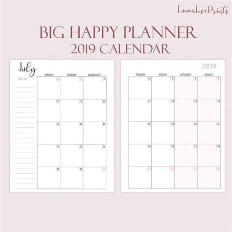 2019 mini happy planner monthly refills made to fit big happy planner printable