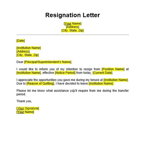 teacher resignation letter sample format templates
