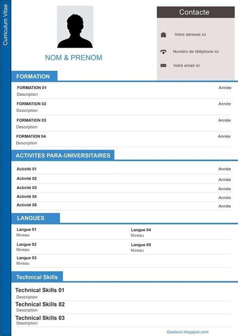 Formulaire Cv Gratuit by Modele Cv Gratuit A Telecharger Pdf Cv Modeles Simples