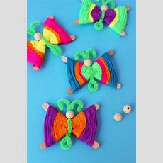 Popsicle Stick Butterflies How To Make Colorful Yarn