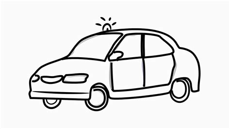 Police Car Line Drawing Illustration Animation With
