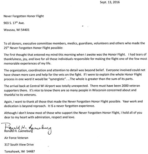 honor flight letter exles thank you letters to veterans exles image collections 11177