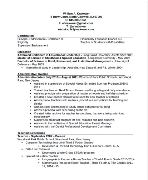 Elementary School Resume by Principal Resume Template 5 Free Word Pdf Document Downloads Free Premium Templates