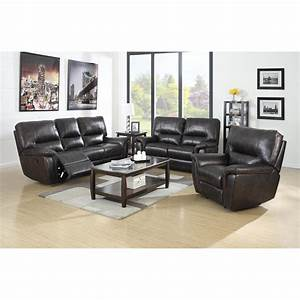 Galaxy brown leather air reclining power sofa w reclining for Sofa bed and recliner set