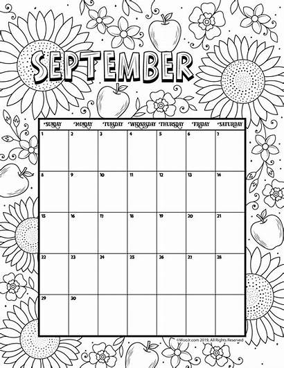 Calendar Coloring Printable September Pages Activities 2021