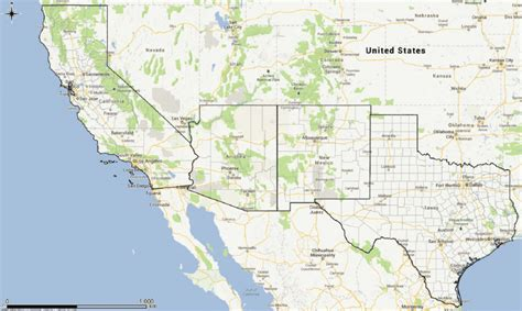 map   south west usa showing  states  arizona