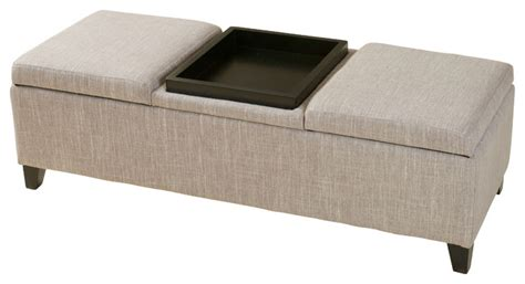 Fabric Storage Ottoman With Tray by Fullerton Chamois Upholstered Storage Ottoman