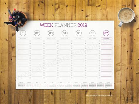 weekly wall planner template   format