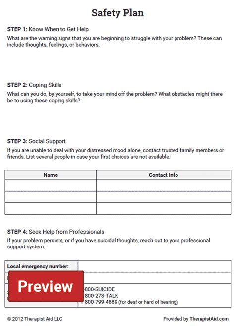 Therapy Safety Plan Template safety plan worksheet therapist aid