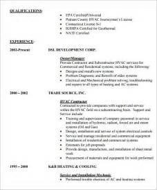resume for hvac installer hvac resume 8 free sles exles format