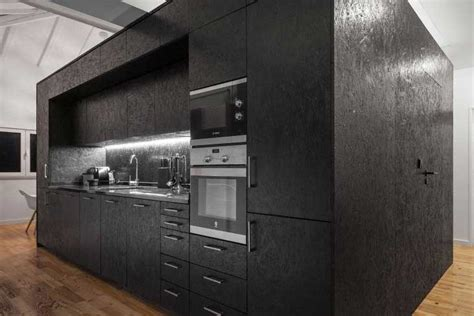 cuisine mur gris le panneau osb et utilisation en déco intérieure