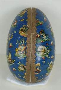 large german easter egg with blue lithograph and gold