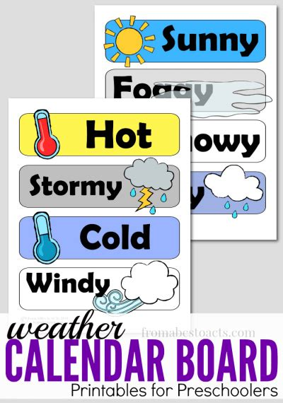 preschool calendar board weather printables  abcs