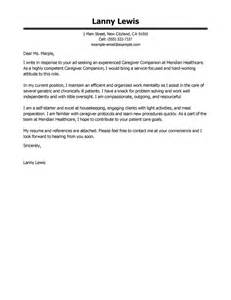 Caregivers Companions Cover Letter Sample My Perfect