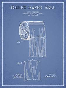 Toilet Paper Roll Patent Drawing From 1891 - Light Blue