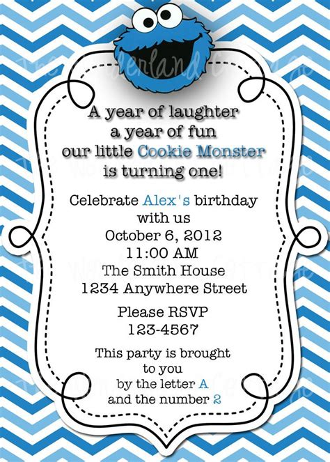 Cookie Invitation Template by Sesame Cookie Invitation And Thank You For
