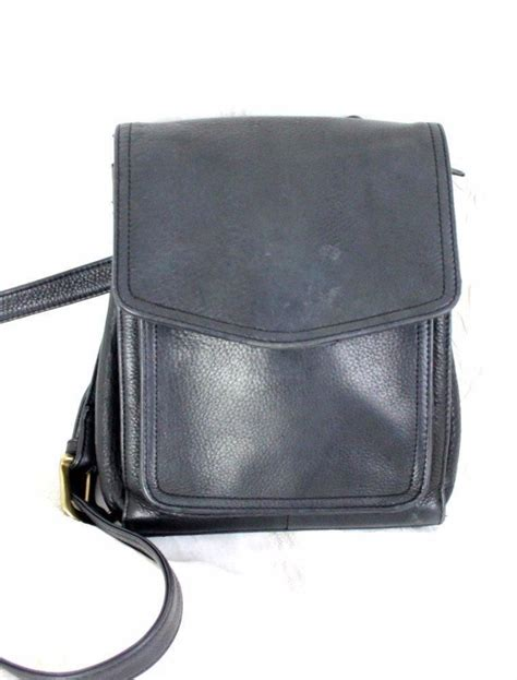 fossil black leather crossbody purse small pocket handbag