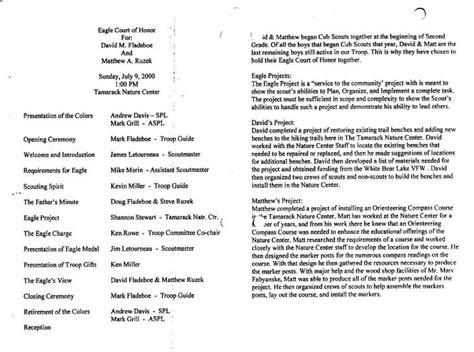 eagle court of honor program david fladeboe eagle court of honor program troop 494